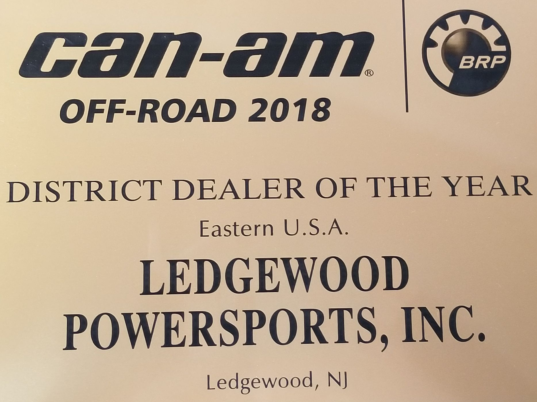 Ledgewood Powersports is the CAN-AM 2018 DISTRICT DEALER OF THE YEAR